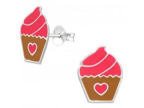 Detské strieborné náušnice 925, ružovo hnedý muffin