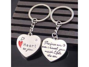 Prívesky na kľúče pre dvoch, dve srdcia, nápis (1)