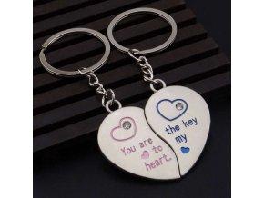 Prívesky na kľúče pre dvoch, rozpolené srdce, nápis