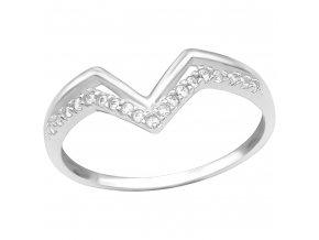 Strieborný zásnubný prsteň 925, dvojitá vlnka, zirkónové V