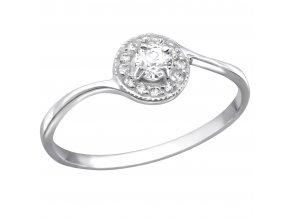 Strieborný zásnubný prsteň 925, drobný okrúhly kotlík s čírymi zirkónmi