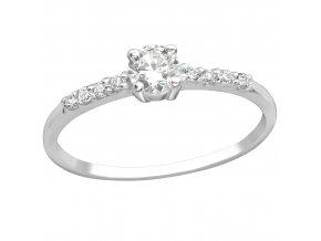Strieborný zásnubný prsteň 925, číry zirkón, rad kamienkov Solitér