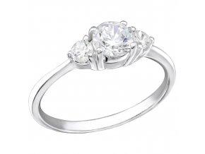 Strieborný zásnubný prsteň 925, trojitý kotlík s čírymi zirkónmi