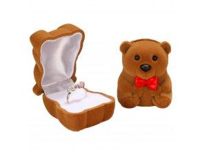 Zamatové darčekové balenie na zásnubný prsteň, hnedý macko