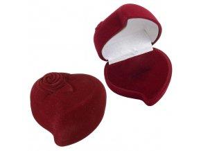 Zamatové darčekové balenie na prsteň, tmavočervené srdce a ruža (1)