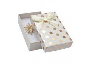 Maslová darčeková krabička na sadu šperkov, medené lesklé bodky