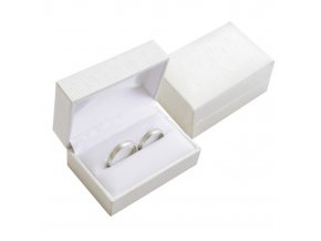 Obdĺžniková béžová krabička na svadobné obrúčky, jemná štruktúra
