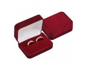 Obdĺžniková zamatová krabička na svadobné obrúčky, bordová farba