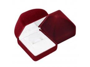 Zamatová obdĺžniková krabička na prsteň, tmavočervená farba