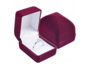Menšia zamatová obdĺžniková krabička na prsteň, bordová farba