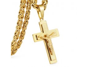Pánska retiazka s krížom, zlata farba a chirurgická oceľ, Ježiš Kristus,