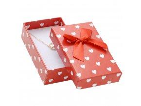 Darčeková krabička na sadu šperkov, biele srdiečka a mašľa