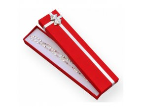 Červená darčeková krabička na náramok, stužka striebornej farby
