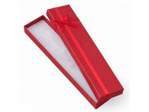 Červená darčeková krabička na náramok, červená stužka a mašľa