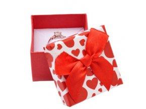 Darčekové balenie na náušnice, červené srdca a mašľa
