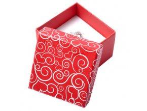 Darčeková krabička na náušnice, červená farba, biely ornament