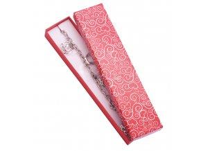 Darčeková krabička na náramok, červená farba, biely ornament