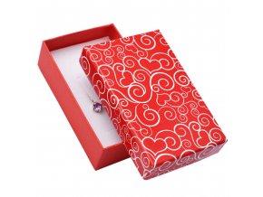 Darčeková abička na sadu šperkov, červená farba, biely ornament