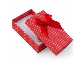 Darčeková krabička na sadu šperkov, biele bodky a stužka