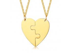 Prívesky pre dvoch, prasknuté srdce a puzzle, oceľ zlatej farby (1)