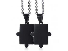 Prívesky puzzle pre dvoch, chirurgická oceľ, čierna farba (1)