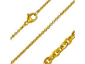 Retiazka na krk z ocele, zlatá farba, vzor Rolo 1,5500 mm 02