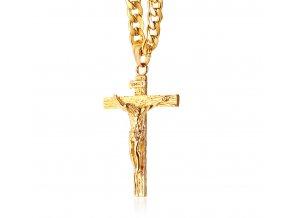 Sada retiazka s krížom, zlatá farba a Ježiš, chirurgická oceľ (1)