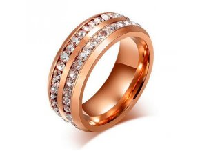 Prsteň so zirkónmi, oceľ farby ružového zlata