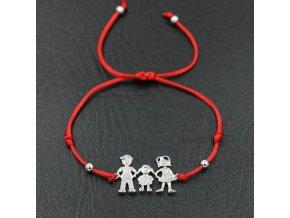 Červený náramok, rodina, mama, dcéra, otec, číre zirkóny bižutéria (1)