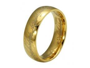 Oceľová obrúčka s motívom Pána prsteňov, zlatá farba