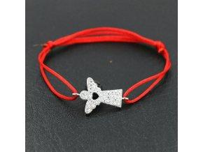 Červený náramok proti urieknutiu, anjel so zirkónmi bižutéria