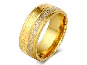 Prsteň s pieskovaním, zlatá a strieborna farba, oceľ