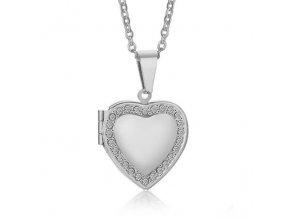 Malý medailón 3D srdce na fotky z ocele, strieborná farba, zirkóny (1)