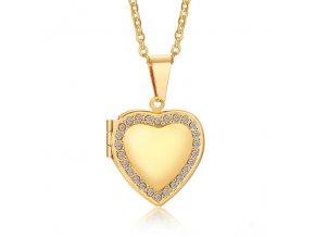 Malý medailón 3D srdce na fotky z ocele, zlatá farba, zirkóny (1)