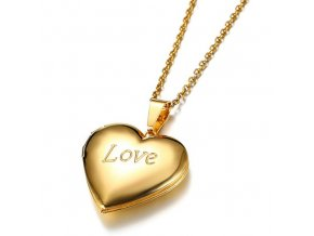 Medailón na fotky, 3D srdce z ocele, zlatá farba a nápis LOVE (1)