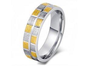 Prsteň s pieskovaním, štvorce, zlatá a strieborná farba, oceľ