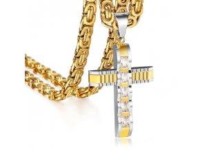 Retiazka s krížom, kráľovský vzor, oceľ zlatej a striebornej farby, číre zirkóny
