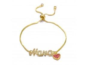 Dámsky náramok zlatej farby, nápis Mama, srdce, číre a červené zirkóny bižutéria
