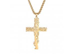 Sada retiazka Cube a prívesok kríža, oceľ, strom a zlatá farba (1)
