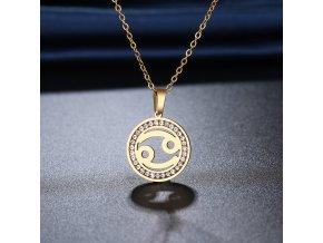 Retiazka s príveskom zverokruhu, oceľ, zirkóny, zlatá farba RYBY (1)