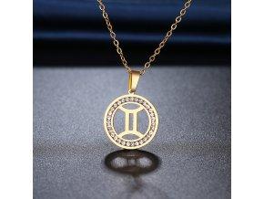 Retiazka s príveskom zverokruhu, oceľ, zirkóny, zlatá farba BLÍŽENCI (1)