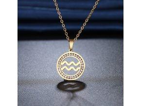 Retiazka s príveskom zverokruhu, oceľ, zirkóny, zlatá farba VODNÁR (1)