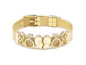 Dámsky náramok z ocele, opasok, zlatá farba, prívesok prsteň, srdca, BEST FRIENDS