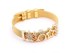 Dámsky náramok z ocele, opasok, zlatá farba, prívesok LOVE, hviezdy, prsteň a zirkóny