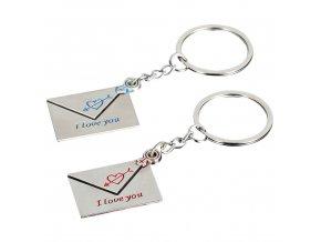 Prívesky na kľúče pre dvoch, dve obálky, milostné dopisy (1)