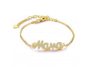 Dámsky náramok zlatej farby, retiazka, nápis Mama bižutéria (1)