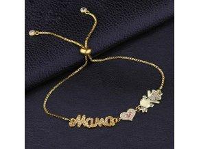 Dámsky náramok zlatej farby, nápis Mama, srdce, dcéra, zirkóny bižutéria