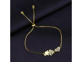 Dámsky náramok zlatej farby, srdce, dcéra, zirkóny bižutéria