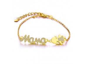 Dámsky náramok zlatej farby, retiazka, nápis Mama, dcéra bižutéria