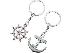 Prívesky na kľúče pre dvoch, kotva a kormidlo, nápis LOVE (1)